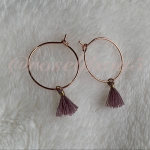 💋🆕Boho Rose Gold Tassel Hoop Earrings